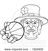 Vector Illustration of Leprechaun Holding Basketball Ball Sports Mascot by AtStockIllustration