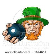 Vector Illustration of Leprechaun Holding Bowling Ball Sports Mascot by AtStockIllustration