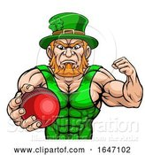 Vector Illustration of Leprechaun Holding Cricket Ball Sports Mascot by AtStockIllustration