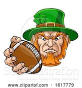 Vector Illustration of Leprechaun Holding Football Ball Sports Mascot by AtStockIllustration
