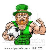 Vector Illustration of Leprechaun Holding Soccer Ball Sports Mascot by AtStockIllustration