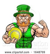 Vector Illustration of Leprechaun Holding Tennis Ball Sports Mascot by AtStockIllustration