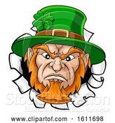 Vector Illustration of Leprechaun Mascot Ripping Background by AtStockIllustration