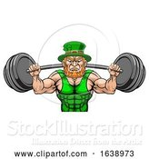 Vector Illustration of Leprechaun Mascot Weightlifter Lifting Big Barbell by AtStockIllustration