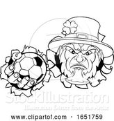 Vector Illustration of Leprechaun Soccer Mascot Ripping Background by AtStockIllustration
