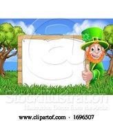Vector Illustration of Leprechaun St Patricks Day Sign Scene by AtStockIllustration
