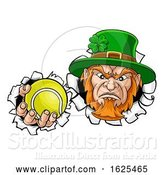 Vector Illustration of Leprechaun Tennis Mascot Ripping Background by AtStockIllustration