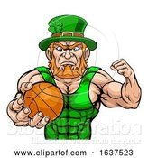 Vector Illustration of Leprechaun Tough St Patricks Day Character or Basketball Sports Mascot by AtStockIllustration