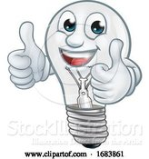 Vector Illustration of Light Bulb Character Lightbulb Mascot by AtStockIllustration