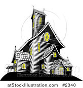 Vector Illustration of Lights on in a Creepy Haunted House by AtStockIllustration
