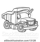 Vector Illustration of Line Art Dump Truck by AtStockIllustration