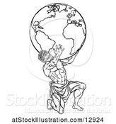 Vector Illustration of Lineart Black and White Atlas Titan Guy Carrying a Globe by AtStockIllustration
