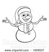 Vector Illustration of Lineart Christmas Snowman Wearing a Scarf and a Santa Hat by AtStockIllustration