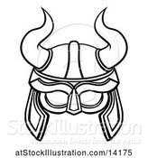 Vector Illustration of Lineart Viking Warrior Helmet with Horns by AtStockIllustration