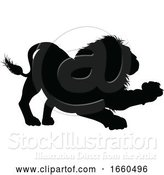 Vector Illustration of Lion Animal Silhouette by AtStockIllustration