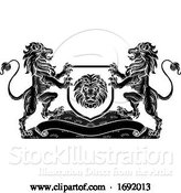 Vector Illustration of Lion Knight Crest Heraldic Shield Coat of Arms by AtStockIllustration