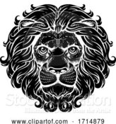 Vector Illustration of Lion Leo Fierce Lions Head Woodcut Animal Icon by AtStockIllustration