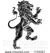 Vector Illustration of Lion Rearing Rampant Coat of Arms Heraldic Animal by AtStockIllustration