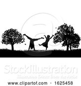 Vector Illustration of Little Children Playing in Park Outdoors Silhouette by AtStockIllustration