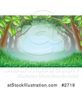 Vector Illustration of Lush Trees Forming a Canopy over Grass in the Woods by AtStockIllustration