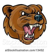 Vector Illustration of Mad Cartoon Grizzly Bear Mascot Head by AtStockIllustration