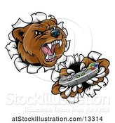 Vector Illustration of Mad Cartoon Grizzly Bear Mascot Holding a Video Game Controller and Breaking Through a Wall by AtStockIllustration