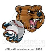Vector Illustration of Mad Cartoon Grizzly Bear Mascot Holding out a Baseball in a Clawed Paw by AtStockIllustration