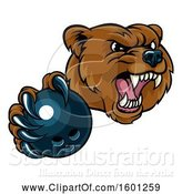Vector Illustration of Mad Cartoon Grizzly Bear Mascot Holding out a Bowling Ball in a Clawed Paw by AtStockIllustration