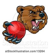 Vector Illustration of Mad Cartoon Grizzly Bear Mascot Holding out a Cricket Ball in a Clawed Paw by AtStockIllustration