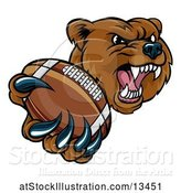 Vector Illustration of Mad Cartoon Grizzly Bear Mascot Holding out a Football in a Clawed Paw by AtStockIllustration