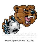 Vector Illustration of Mad Cartoon Grizzly Bear Mascot Holding out a Soccer Ball in a Clawed Paw by AtStockIllustration
