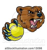 Vector Illustration of Mad Cartoon Grizzly Bear Mascot Holding out a Tennis Ball in a Clawed Paw by AtStockIllustration