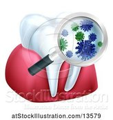 Vector Illustration of Magnifying Glass over a Tooth and Gums, Displaying Bacteria by AtStockIllustration