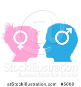 Vector Illustration of Male and Female Sex Gender Symbol Faces in Profile by AtStockIllustration