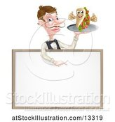 Vector Illustration of Male Waiter Holding a Kebab Sandwich Character on a Tray, Pointing down over a Blank Sign by AtStockIllustration