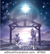 Vector Illustration of Mary and Joseph Praying over Baby Jesus Under the Star of Bethlehem in Purple Tones by AtStockIllustration