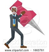Vector Illustration of Mature Black Businessman Holding Thumb Tack Pin by AtStockIllustration