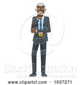 Vector Illustration of Mature Black Businessman Thinking Mascot Concept by AtStockIllustration