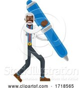 Vector Illustration of Mature Black Doctor Guy Mascot Holding Pen Concept by AtStockIllustration