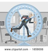 Vector Illustration of Mature Businessman Hamster Wheel Stress Running by AtStockIllustration