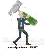 Vector Illustration of Mature Businessman Holding Hammer Mascot Concept by AtStockIllustration