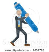 Vector Illustration of Mature Businessman Holding Pen Mascot Concept by AtStockIllustration