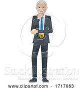 Vector Illustration of Mature Businessman Thinking Mascot Concept by AtStockIllustration