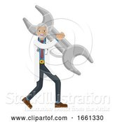 Vector Illustration of Mature Doctor Guy Holding Spanner Wrench Concept by AtStockIllustration