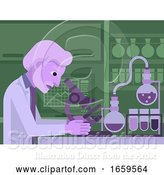 Vector Illustration of Mature Scientist Working in Laboratory by AtStockIllustration