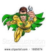 Vector Illustration of Mechanic Plumber Superhero Holding Wrench Spanner by AtStockIllustration