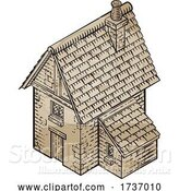 Vector Illustration of Medieval Building Map Icon Vintage Illustration by AtStockIllustration