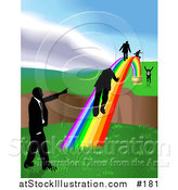 Vector Illustration of Men Walking on a Rainbow to Cross a Ravine by AtStockIllustration