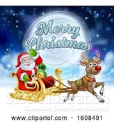 Vector Illustration of Merry Christmas Greeting with Santa Claus in a Flying Magic Sleigh with a Red Nosed Reindeer Against the Moon by AtStockIllustration