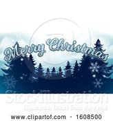 Vector Illustration of Merry Christmas Greeting with Silhouetted Evergreen Trees Under a Winter Sky by AtStockIllustration
